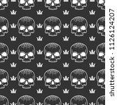 white crown and skull seamless... | Shutterstock .eps vector #1126124207