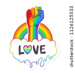 rainbow colored hand with a... | Shutterstock .eps vector #1126125533