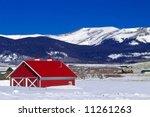 a classic red barn in colorado... | Shutterstock . vector #11261263