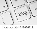 blog button on the keyboard... | Shutterstock . vector #112614917