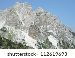 Small photo of some peaks of Albanian Alps, also called Accursed Mountains, from the Valbona Pass