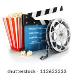 3d cinema clapper  film reel... | Shutterstock . vector #112623233