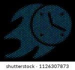 halftone fire deadline clock... | Shutterstock .eps vector #1126307873