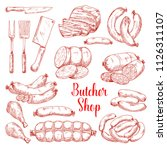 butcher shop meat products... | Shutterstock .eps vector #1126311107