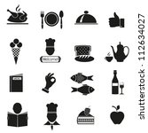 Different Icons With Food Of...