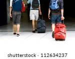 young people go up the stairs... | Shutterstock . vector #112634237