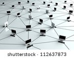 Computer Network - Internet Concept with desktop pc - stock photo