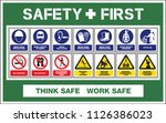 safety first warning sign  wear ... | Shutterstock .eps vector #1126386023