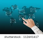 Hand pressing e-mail sign - stock photo