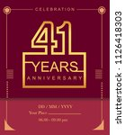 41 years golden anniversary... | Shutterstock .eps vector #1126418303