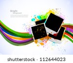 Bright background with photo frames - stock vector