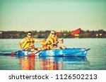 kayaking and canoeing with...   Shutterstock . vector #1126502213