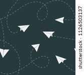 paper plane seamless pattern.... | Shutterstock .eps vector #1126503137
