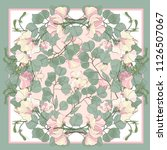 silk scarf with blooming sweet... | Shutterstock .eps vector #1126507067