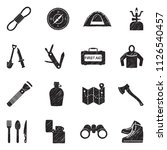 survival kit icons. black... | Shutterstock .eps vector #1126540457