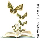 Idea of opening book on money butterflies - stock photo