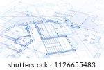 architecture design  blueprint... | Shutterstock .eps vector #1126655483