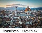 florence sunset city skyline... | Shutterstock . vector #1126721567