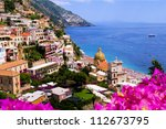 View of the town of Positano with flowers, Amalfi Coast, Italy - stock photo