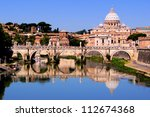 View of toward Vatican City from Ponte Umberto I, Rome, Italy - stock photo