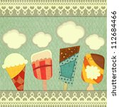 Ice cream retro price - Cover Ice Cream Menu  - vector illustration - stock vector