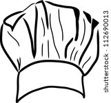 chef hat vector line drawing | Shutterstock .eps vector #112690013