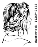 woman with braid around head | Shutterstock .eps vector #1126943663