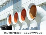 white ventilation pipes of air... | Shutterstock . vector #1126999103