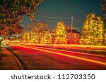 outdoor christmas decorations at christmas town usa - stock photo