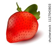 realistic single strawberry... | Shutterstock .eps vector #1127043803