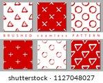 vector set seamless pattern... | Shutterstock .eps vector #1127048027