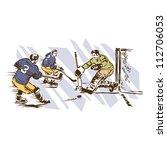retro vintage ice hockey sports ... | Shutterstock .eps vector #112706053