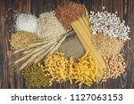 foods high in carbohydrate on... | Shutterstock . vector #1127063153