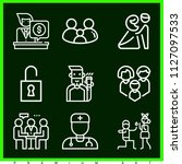 set of 9 man outline icons such ... | Shutterstock .eps vector #1127097533