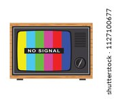 retro tv with antenna  test... | Shutterstock .eps vector #1127100677