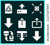 set of 9 arrows filled icons... | Shutterstock .eps vector #1127107847