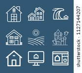 set of 9 house outline icons...   Shutterstock .eps vector #1127144207