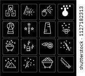 set of 16 icons such as sawing  ...