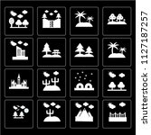 set of 16 icons such as bridge  ...