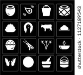 set of 16 icons such as drum ...