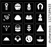 set of 16 icons such as oil...