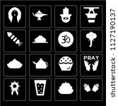 set of 16 icons such as hand ...