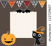 cute halloween party card with...   Shutterstock .eps vector #112729837