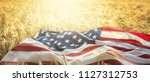 american flag lies on the...   Shutterstock . vector #1127312753