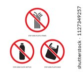 stop using plastic products set ... | Shutterstock .eps vector #1127349257