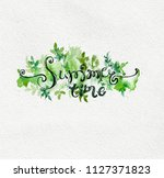 summer floral background with... | Shutterstock . vector #1127371823