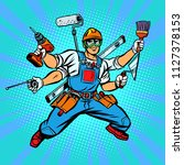 many hand builder repairman... | Shutterstock .eps vector #1127378153