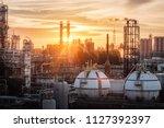 gas storage sphere tanks in... | Shutterstock . vector #1127392397