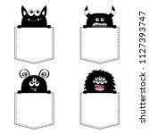 black monster silhouette set in ... | Shutterstock .eps vector #1127393747