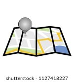 folding paper city map with... | Shutterstock .eps vector #1127418227